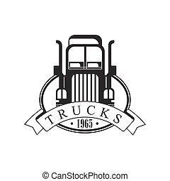 重い, トラック, 会社, クラブ, ロゴ, 黒い、そして白い, デザイン, テンプレート, ∥で∥, リボン