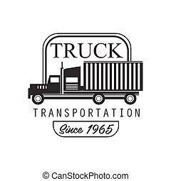 重い, トラック, 会社, クラブ, ロゴ, 黒い、そして白い, デザイン, テンプレート, ∥で∥, 車, シルエット
