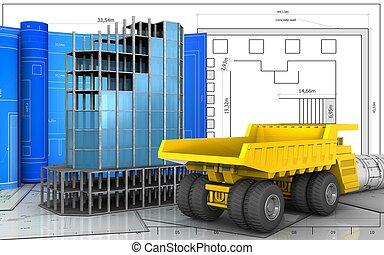 重い, トラック, 3d
