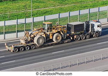 重い, ハイウェー, 大きい, 長い間, プラットホーム, 機械類, トラック, 輸送, bucket., 荷を積まれる, トレーラー, トラクター, transportation.