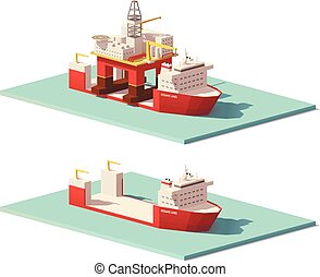 重い, ベクトル, poly, リフト, 低い, 用具一式, 船, オイル