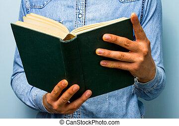 重い, 古い, bible?, book., 読書, 人