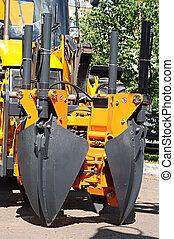 重い, 建設, 義務, worksite, 装置, 駐車される