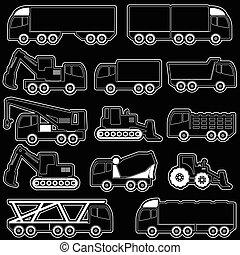 重い, 形, ベクトル, 交通機関
