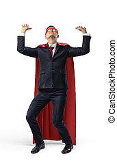 重い, 彼の, superhero, 上に, オブジェクト, above., 衣装, スーツ, 見えない, ビジネスマン, 把握, つらい