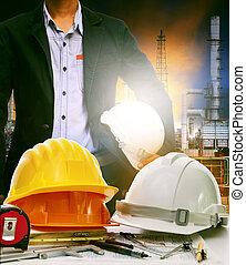 重い, 植物, オイル, ビジネス, 仕事, 産業, 使用, 精製所, 産業, テーブル, 製造, エネルギー, エンジニア