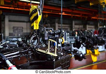 重い, 橋, 産業, アセンプリ, プロセス, 自動車, イメージ, -, 手ざわり, ホック, 概念, に対して, 背景, factory., クレーン, 製造, 線, 持ち上がること, 植物
