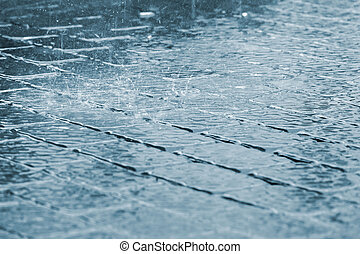 重い, 歩道, 低下, 表面, 雨