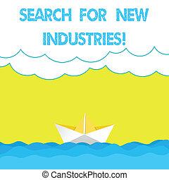 重い, 研究する, 写真, 現場, ペーパー, ファインド, ボート, コピー, 執筆, メモ, 他, 新しい ビジネス, モデル, 提示, space., 波, industries., 捜索しなさい, 雲, 海景, showcasing