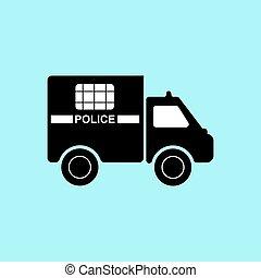 重い, 碑文, シルエット, トラック, 警察