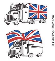 重い, 組合, イラスト, ベクトル, トラック, jack.