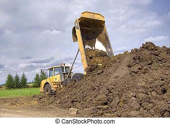 重い, 義務, トラック, ゴミ捨て場
