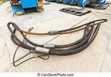 重い, 義務, ワイヤー, 吊包帯, 鋼鉄, ロープ