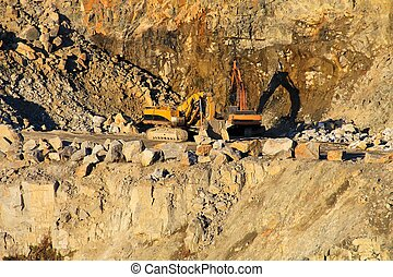 重い, 花こう岩, 機械類, 採石場
