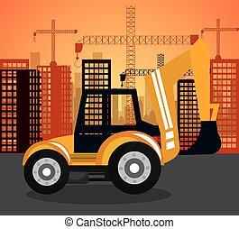 重い, 都市, 上に, machinary, 建設, 背景