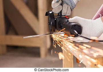 重い, 鋼鉄, 角度, 企業の労働者, 切断, 粉砕器