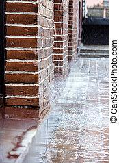重い, 雨, 水たまり, 雨, 落ちる, 天候, の間
