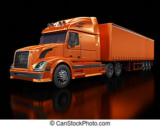 重い, 黒, トラック, 隔離された, 赤