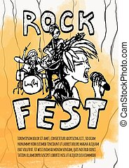 重い, guitarist, 歌手, illustration., 祝祭, ポスター, ドラマー, 黄色, バックグラウンド。, ベクトル, 音楽, 岩, band.