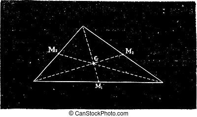 重力, engraving., 中心, 型, 三角形