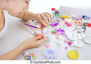 重合体, 宝石類, 芸術家, process., 粘土, ワークショップ, 作り