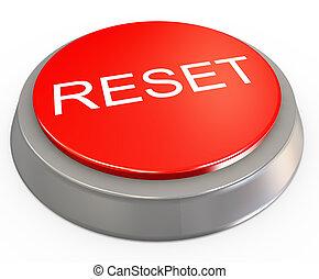 重置, 按鈕, 3d