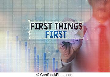 重要, ビジネス, ほとんど, テキスト, 提示, denoting, 上向きの矢印, 写真, もの, シンボル, 技術, ポイント, 概念, first., セット, 印, 行く, インターネット, 仮数部, 最初に, あなたの, priorities, achievement.