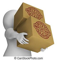 重要, 郵票, 上, 箱子, 顯示, 關鍵, 交付