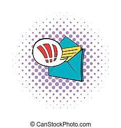 重要, 電子メール, アイコン, pop-art, スタイル