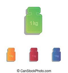 重量, アイコン, 単純である, 印。, colorfull, アップリケ, set.