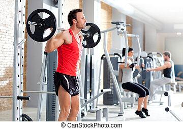 重量, 人, 体操 装置, dumbbell, 訓練
