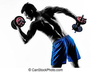 重量, 人, 黑色半面畫像, 行使, 健身