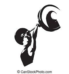 重量, 大きい, 隔離された, silhouette., 重量挙げ, ベクトル, 揚げべら, 持ち上がること, フィットネス, 女, ロゴ, 女の子, 強い, barbell.