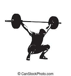 重量, 大, weightlifting., 隔离, silhouette., 矢量, 起重者, 强壮, barbell, 人