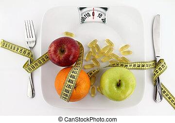 重量, 成果, テープ, プレート, 測定, ビタミン, のように, スケール