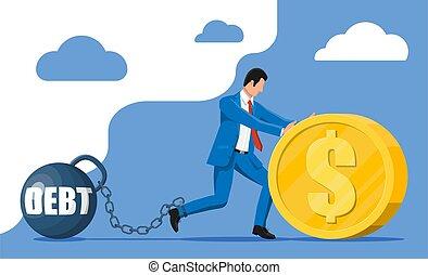 重量, 鎖でつながれた, ビジネスマン, 負債, 重い, 大きい
