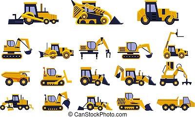 重, 不同, 卡车, 放置, 车辆, 设备, 矢量, 背景, 图解, 建设, 白色, 类型