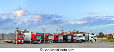 重, 卡車, 由于, 拖車