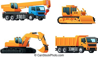重, 卡车, 图标, 工业, 矢量, 机械