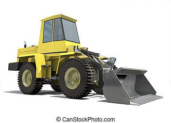 重, 拖拉机, 由于, a, bucket., 隔離, 在懷特上, 背景。, render.