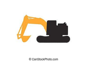 重, 推土机, 矢量, grunge, 拖拉机