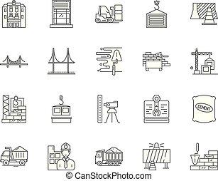 重, 概念, outline, 放置, 图标, 描述, 建设, 矢量, 线, 签署