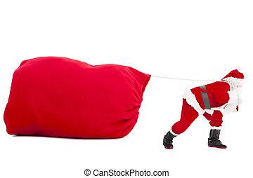 重, 禮物, 克勞斯, 大袋, 運載, 聖誕老人