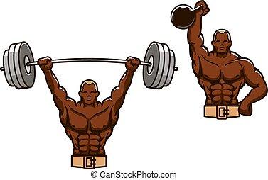 重, 肌肉, 重量, 卡通漫画, 举起, 人