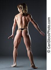 重, 身体建造者, 婦女, 矯柔造作, 赤裸