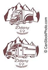 重, truck., 放置, logos., 矢量