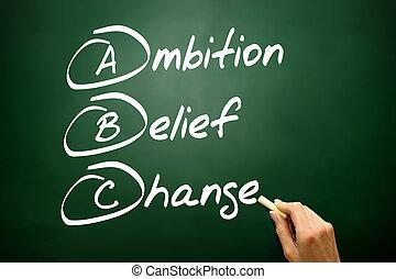 野心, bla, ビジネス, 手, 変化しなさい, 信念, (abc), 引かれる, 概念