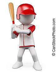 野球選手, 人々。, 3d, 白