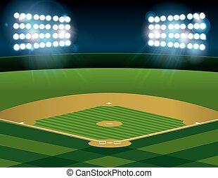 野球, ソフトボール, フィールド, 火をつけられた, 夜で