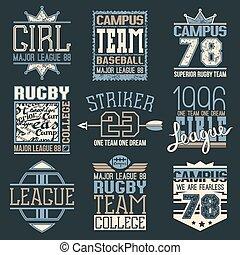 野球, 大学, チーム, ラグビー, emb